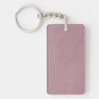 Espacio en blanco color de rosa polvoriento de la llavero rectangular acrílico a una cara