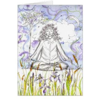Espacio en blanco de dibujo subió Namaste de la Tarjeta De Felicitación