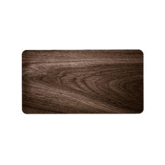 Espacio en blanco del grano de madera de roble de  etiqueta de dirección