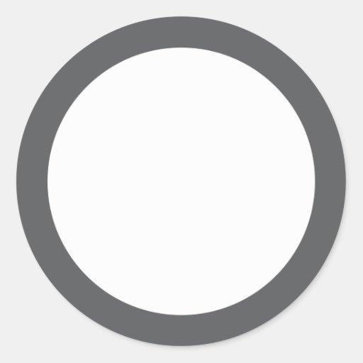 Espacio en blanco gris llano de la frontera pegatina redonda