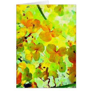 Espacio en blanco impresionista floral amarillo de tarjeta