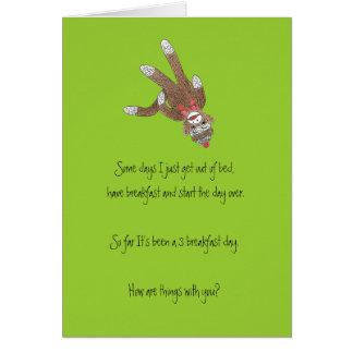 Espacio en blanco InsideCard del mono del calcetín Tarjeton