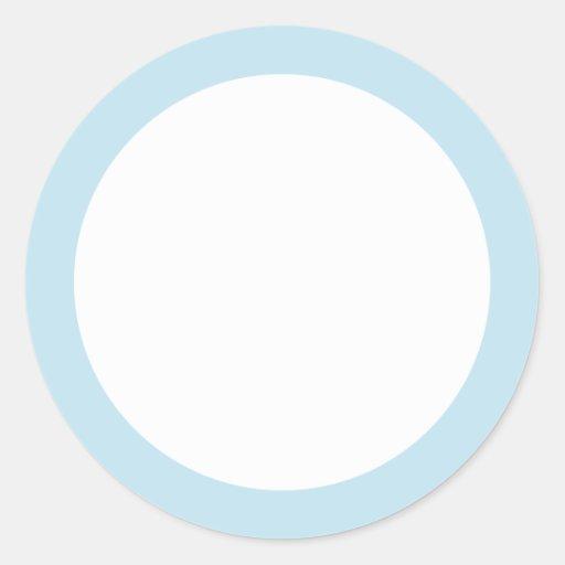 Espacio en blanco pálido de la frontera del azul pegatina redonda