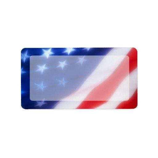 Espacio en blanco patriótico de la bandera america etiquetas de dirección