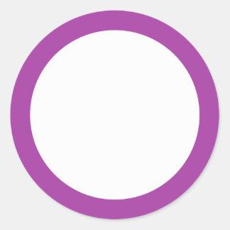 Espacio en blanco púrpura de la frontera del color pegatina redonda