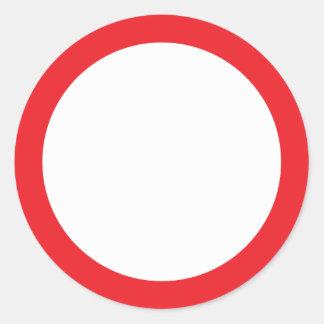 Espacio en blanco rojo de la frontera pegatina redonda