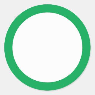 Espacio en blanco sólido verde de la frontera pegatina redonda