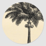 Espacio en blanco tropical de la plantilla de la etiqueta redonda