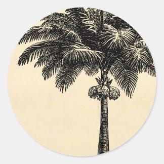 Espacio en blanco tropical de la plantilla de la pegatina redonda