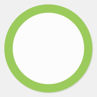 Espacio en blanco verde de la frontera del color pegatina redonda