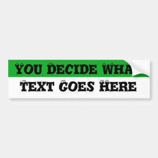 Espacio en blanco verde y blanco etiqueta de parachoque