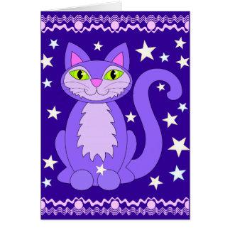 Espacio en blanco vertical del gato cósmico del di felicitación