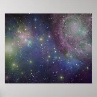 Espacio, estrellas, galaxias y nebulosas póster