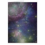 Espacio, estrellas, galaxias y nebulosas tarjeta de felicitación