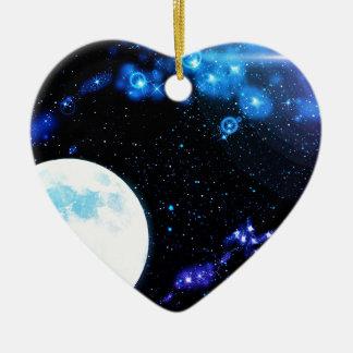 Espacio exterior azul adorno de cerámica en forma de corazón