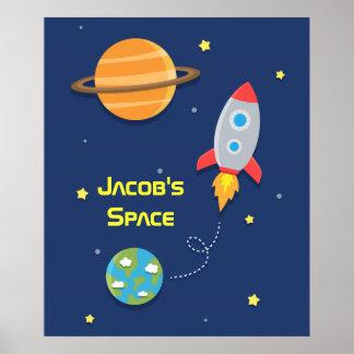 Espacio exterior, nave de Rocket, para el sitio de Póster