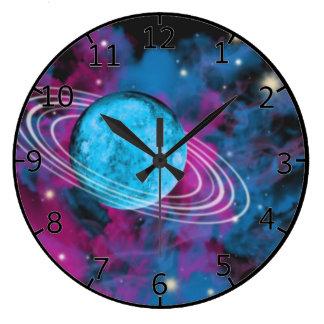 Espacio exterior reloj redondo grande