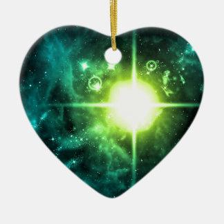 Espacio exterior verde adorno de cerámica en forma de corazón