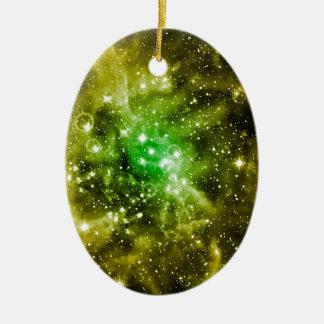 Espacio exterior verde adorno ovalado de cerámica