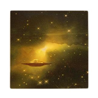Espacio extranjero de las galaxias del UFO Posavasos De Madera