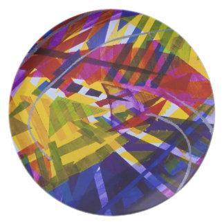 Espacio interno - corrientes abstractas del arco i plato para fiesta