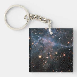 """Espacio profundo de la """"místico"""" montaña de Hubble Llavero Cuadrado Acrílico A Doble Cara"""