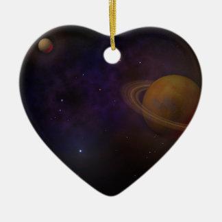 Espacio profundo adorno de cerámica en forma de corazón
