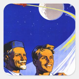 Espacio retro del soviet de Sci Fi URSS del kitsch Pegatina Cuadrada