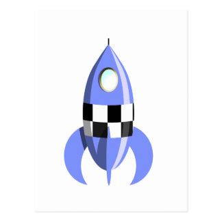 Espacio Rocket azul Postales