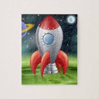 Espacio Rocket del dibujo animado en el planeta ex Puzzle Con Fotos