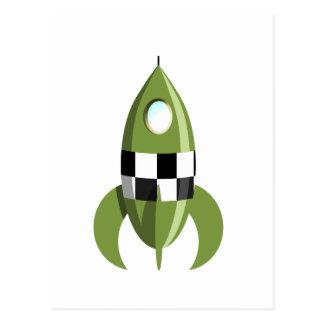 Espacio Rocket verde Tarjeta Postal