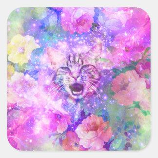 Espacio rosado floral romántico de la nebulosa del pegatina cuadrada