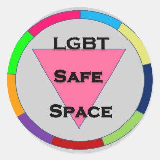 Espacio seguro LGBT Pegatina Redonda