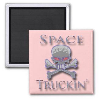 Espacio Truckin azul Imán Cuadrado