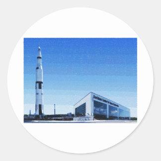 Espacio y centro de Rocket de Huntsville, Alabama Pegatina Redonda