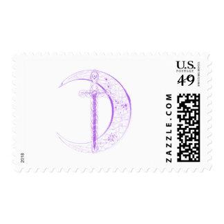 Espada céltica y luna céltica (púrpuras) sello