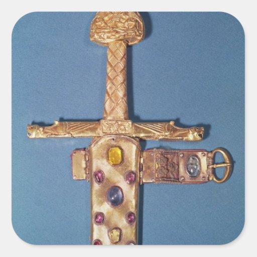 Espada de la coronación de los reyes de Francia Pegatina Cuadrada
