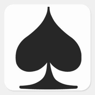 Espada de la habitación del póker pegatina cuadrada