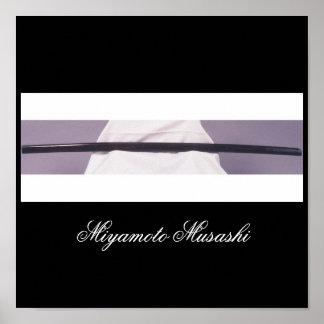 Espada de madera de Miyamoto Musashi Poster