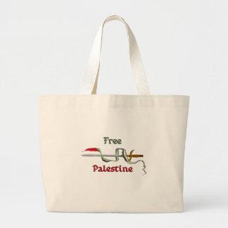 Espada de Palestina rodeada por la bandera palesti Bolsa Tela Grande