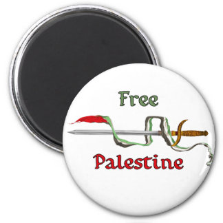 Espada de Palestina rodeada por la bandera palesti Imán Redondo 5 Cm
