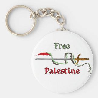 Espada de Palestina rodeada por la bandera palesti Llavero Redondo Tipo Pin