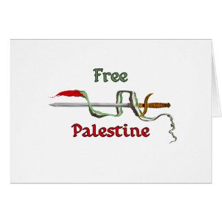 Espada de Palestina rodeada por la bandera palesti Tarjeta De Felicitación