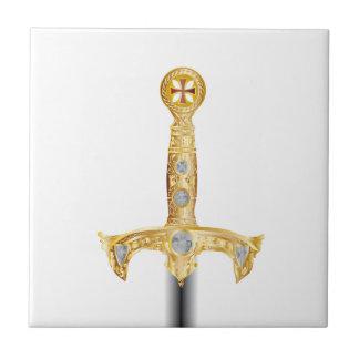 Espada de un caballero Templar Azulejo Cuadrado Pequeño