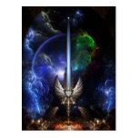 Espada del ala del ángel del arte del fractal del  postales