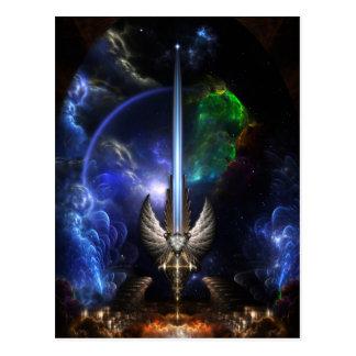 Espada del ala del ángel del arte del fractal del  tarjetas postales
