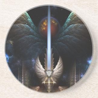 Espada del ala del ángel del práctico de costa de posavaso para bebida