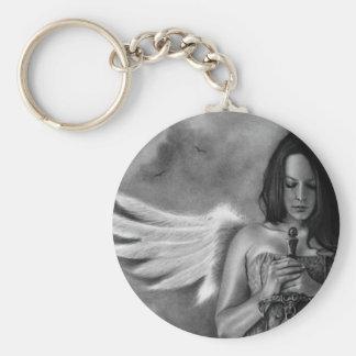Espada del chica del ángel del defensor llavero redondo tipo pin