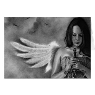 Espada del chica del ángel del defensor tarjeton