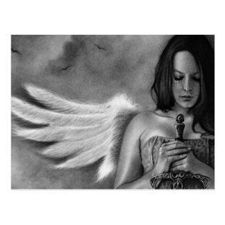 Espada del chica del ángel del defensor tarjeta postal